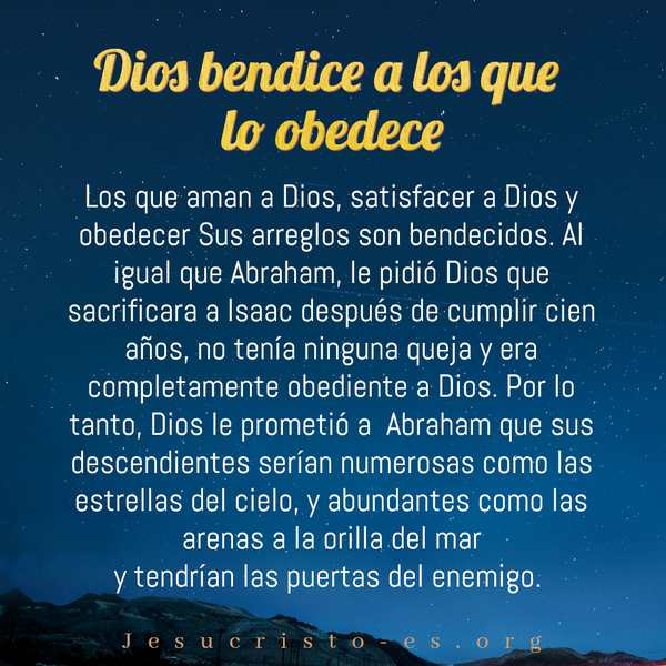 Dios bendice a los que lo obedece